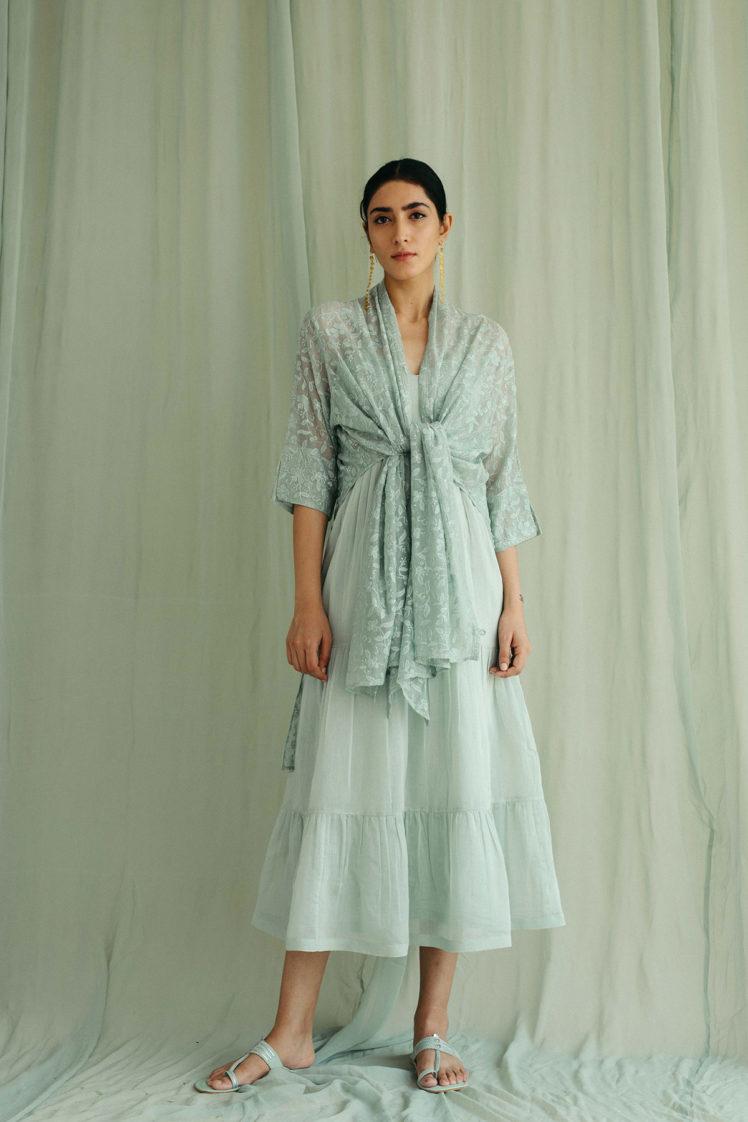 Sea Green Cotton Tier Dress & Stole