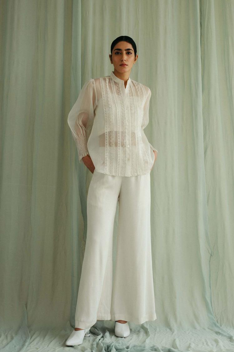 Ivory Organza Lacework Shirt & Georgette Pants