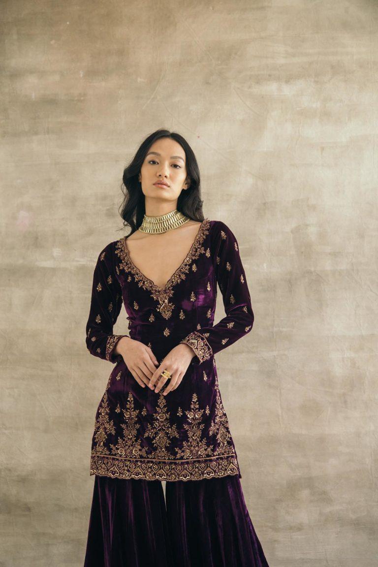 Plum Silk Velvet Fitted Gharara Set