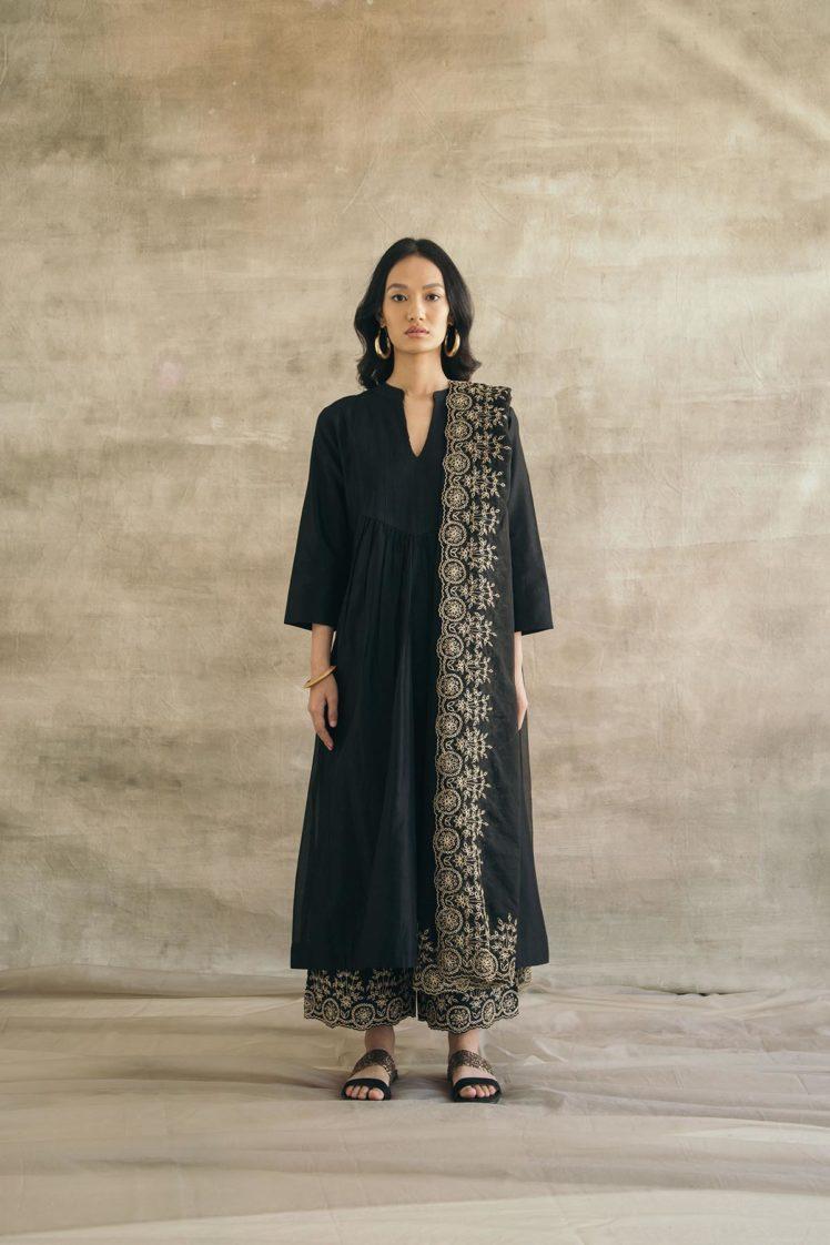 Silk Chanderi Narrow Pin-Tucked Kurta Set