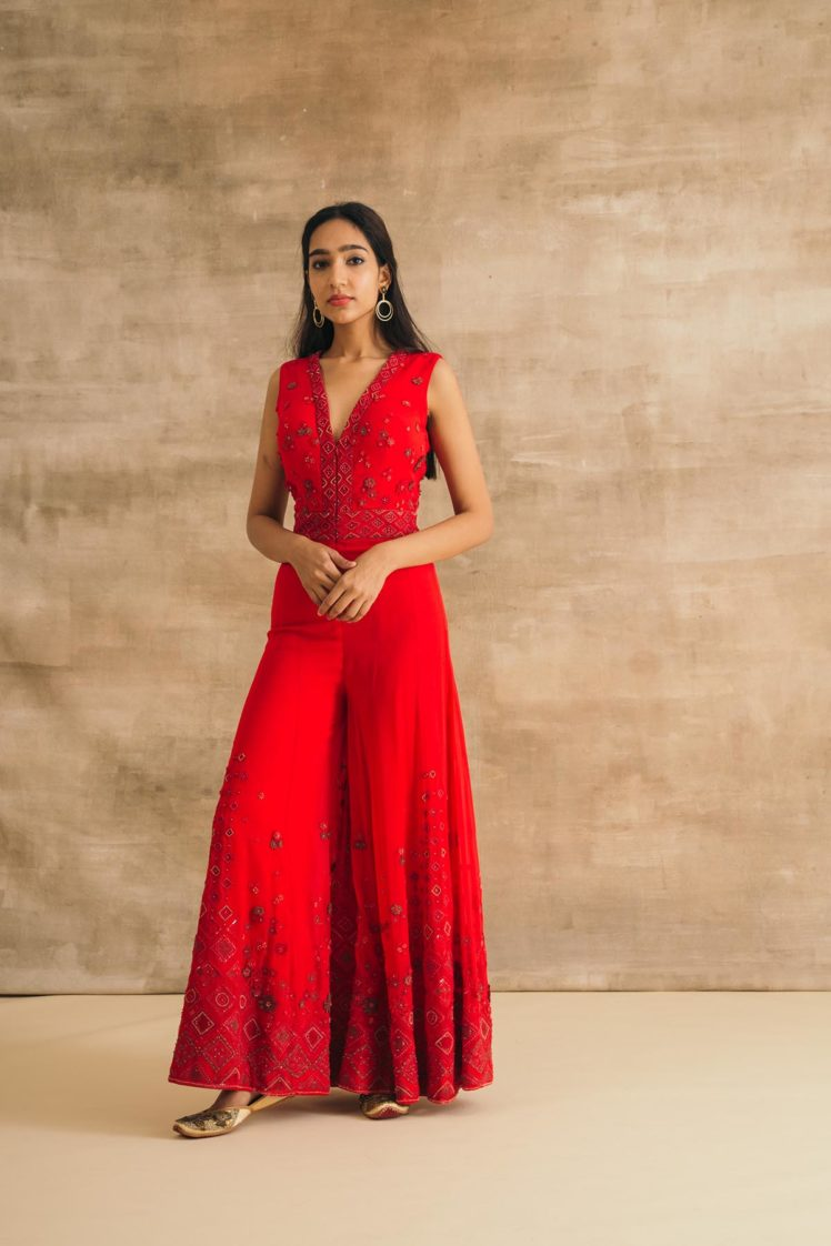 Red Georgette Embroidered 3D Flower Jumpsuit