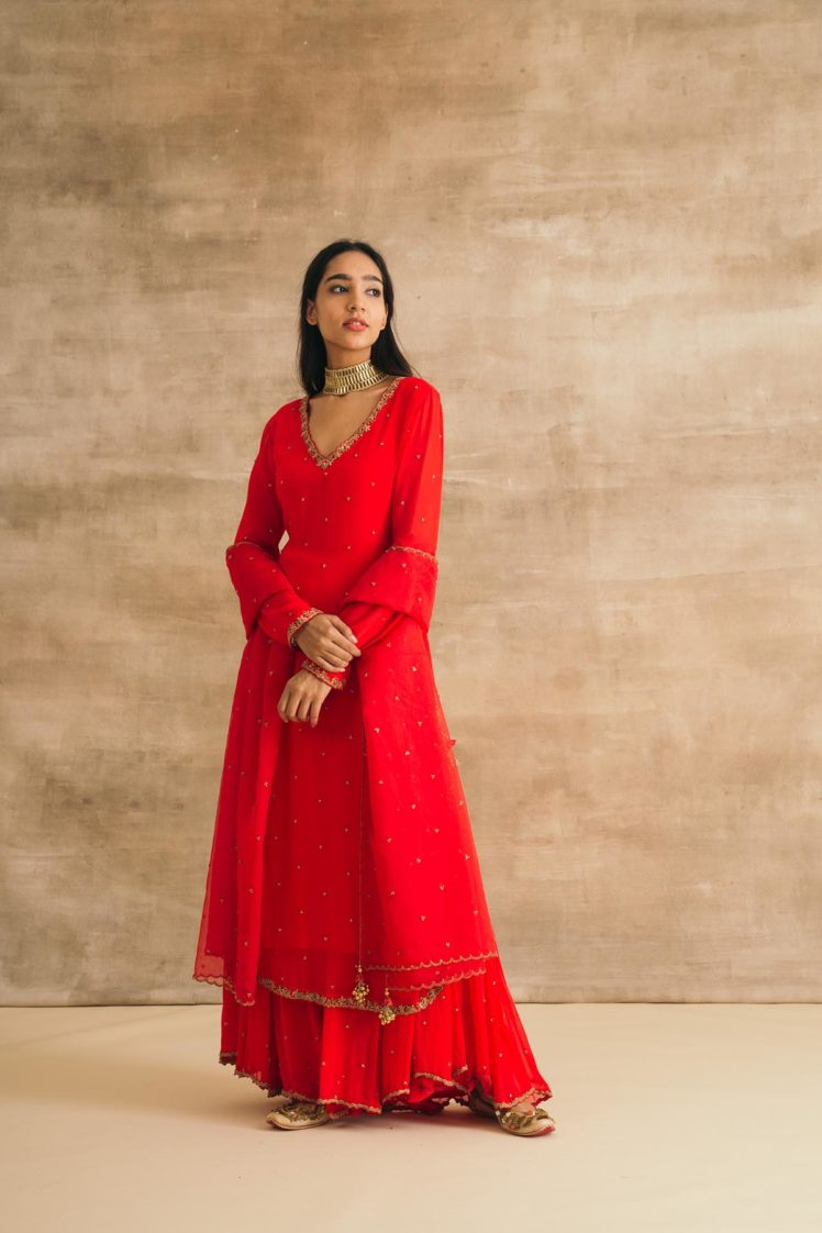 Red Georgette Embroidered Sharara Set