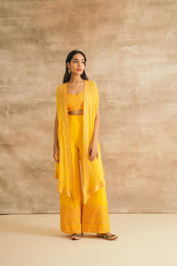 Yellow Georgette Embroidered Cape Set