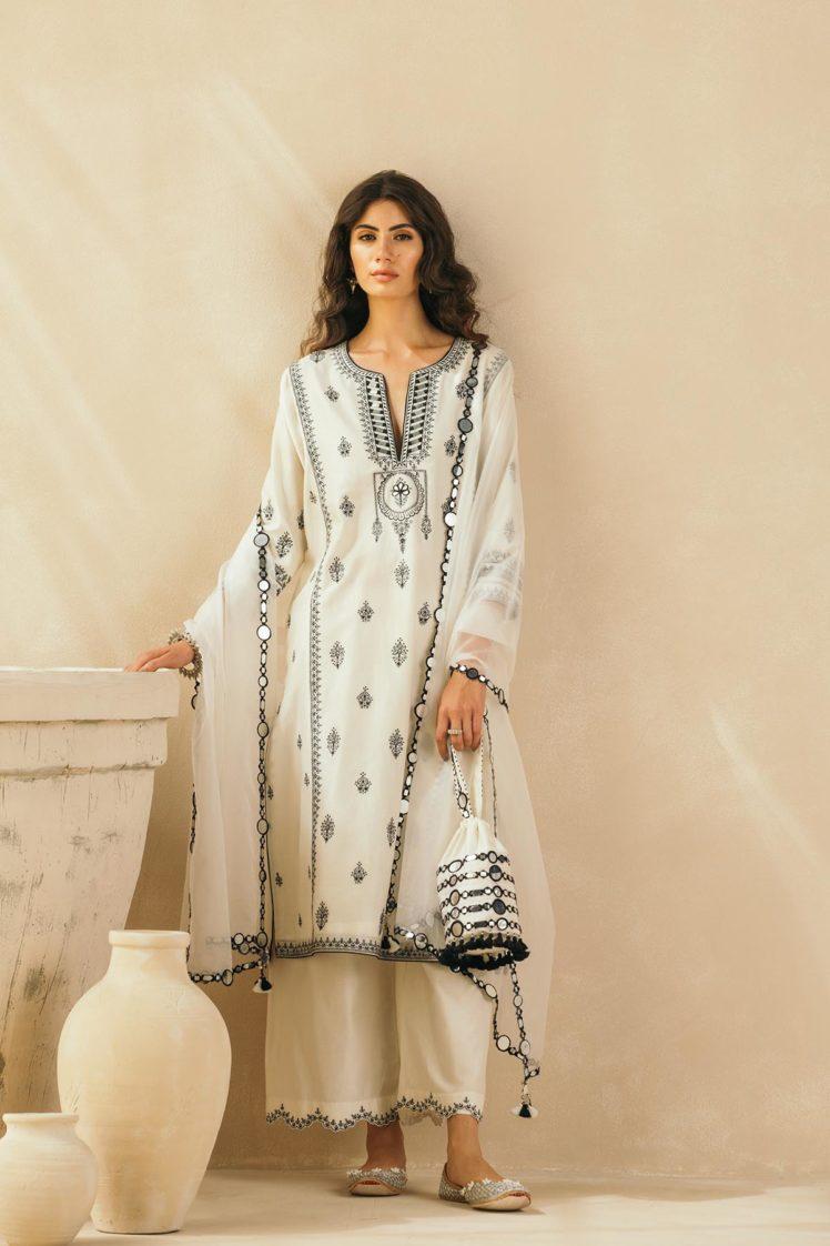 Ebony & Ivory Mughal Embroidered Kurta Set