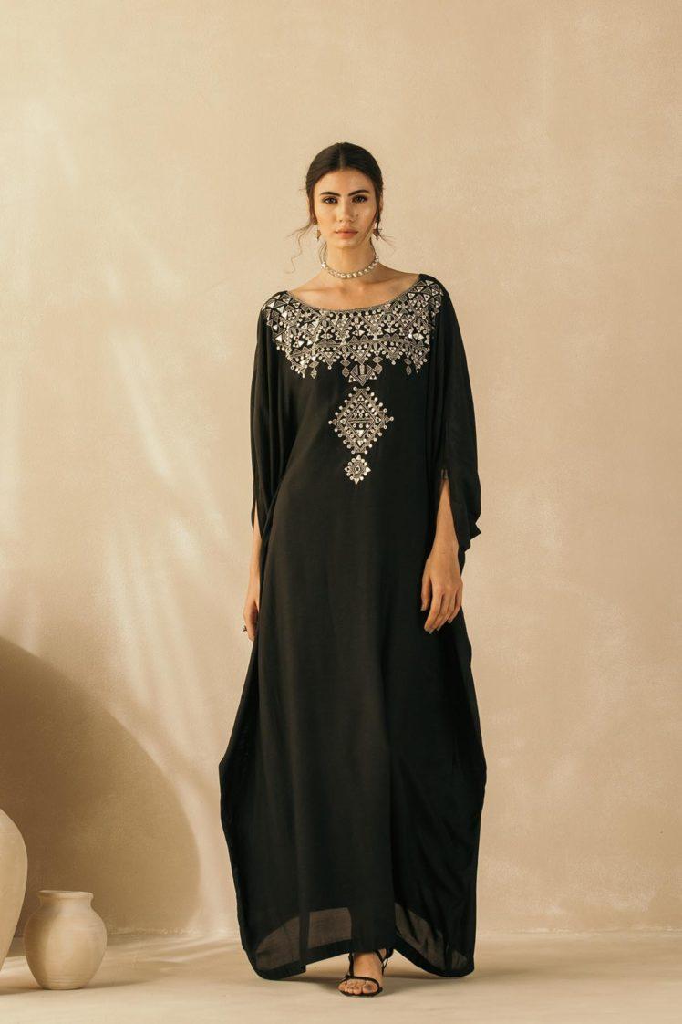 Midnight Black Mughal Kaftan